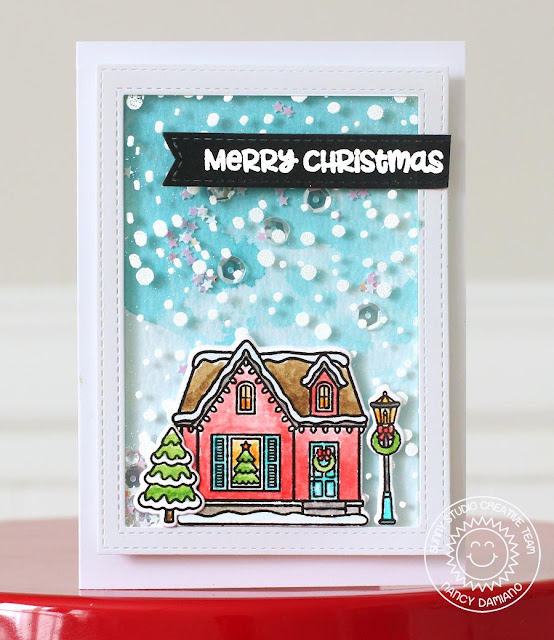 Sunny Studio Stamps: Frosted Flurries Winter Themed Shaker Box Card by Nancy Damiano
