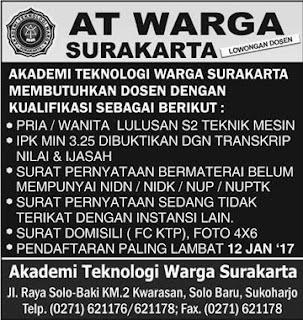 Lowongan Dosen Akademi Teknologi Warga Surakarta