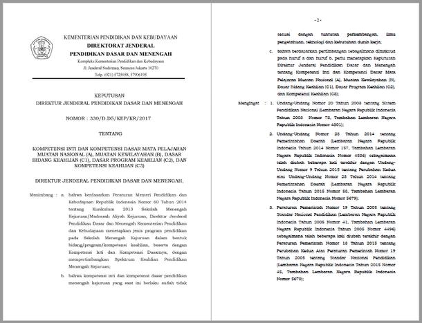 Kompetensi Inti dan Kompetensi Dasar (KI & KD) SMK-MAK
