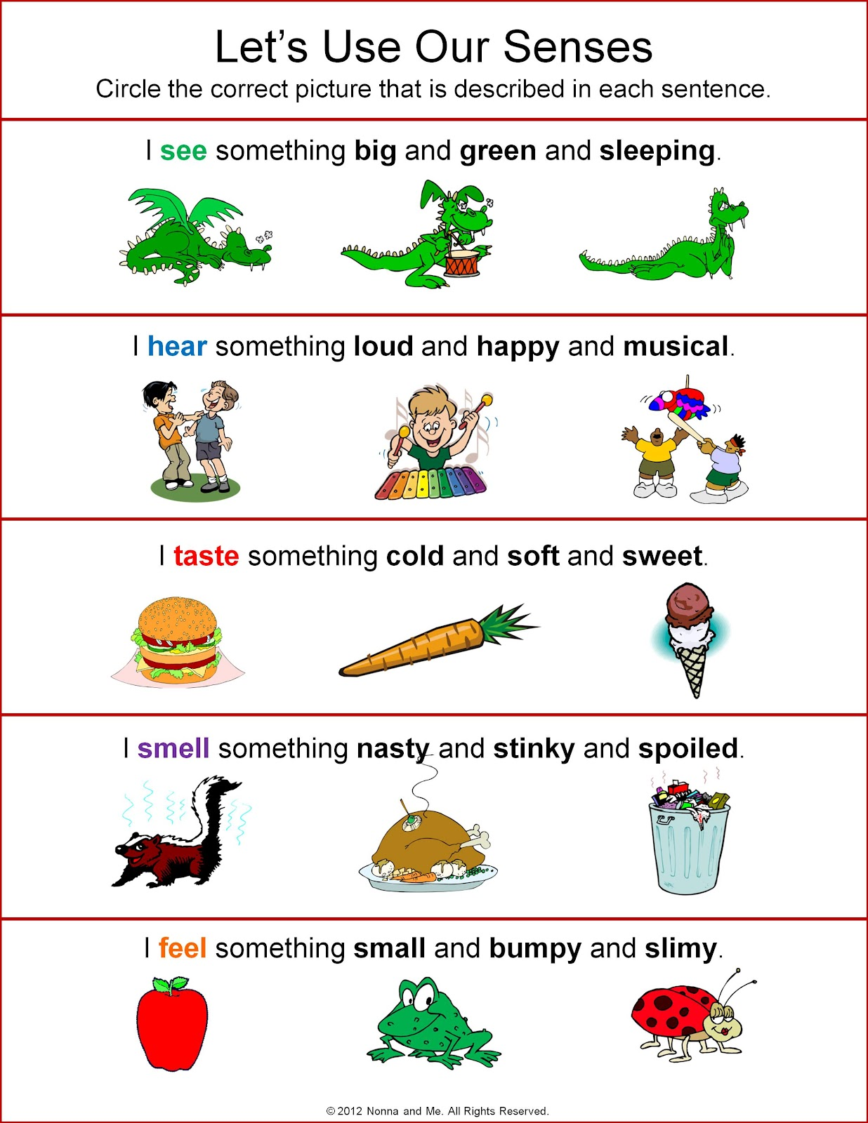 Five Senses Worksheets |Worksheets About Senses
