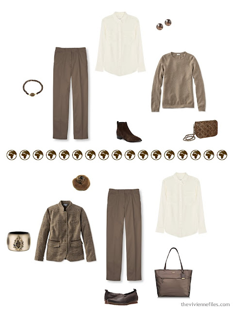2 ways to wear brown pants from a 4 by 4 Wardrobe in browns, cream and teal