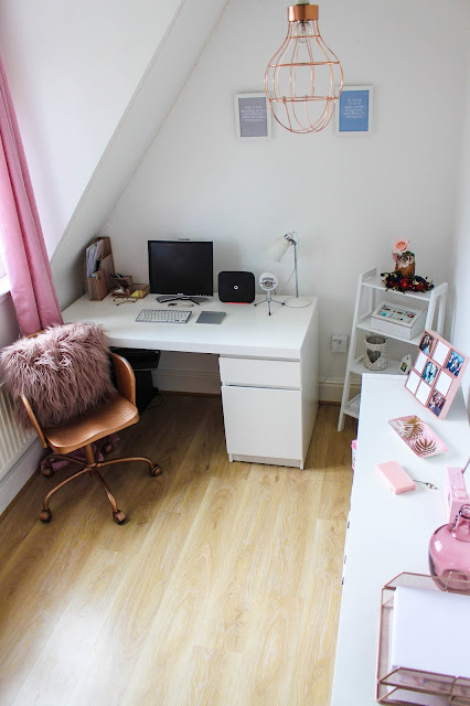 white pink and rose gold office