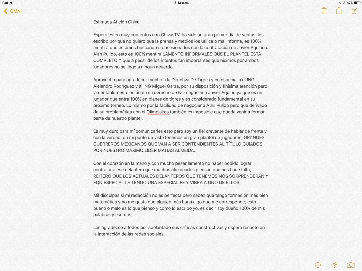 La carta de José Luis Higuera.
