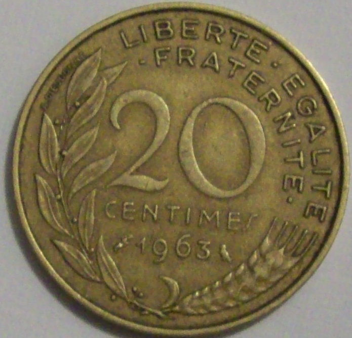 My Coin Box 1963 French 20 Centimes