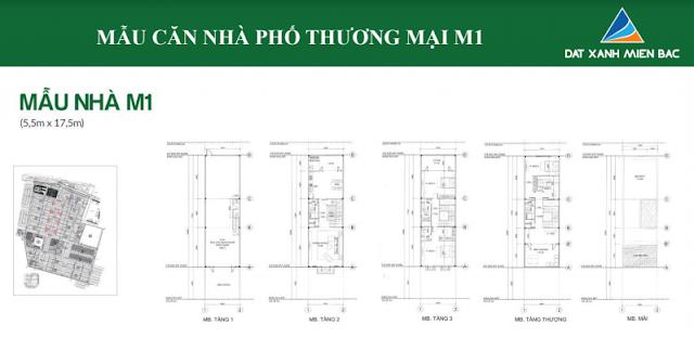 Hình ảnh thiết kế mẫu nhà M1 ( loại 5,5 x 17,5m)