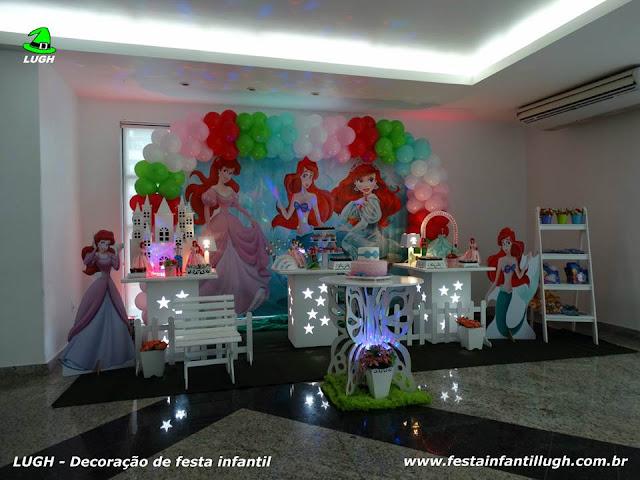 Decoração tema Ariel para festa infantil - mesa temática para aniversário de meninas.