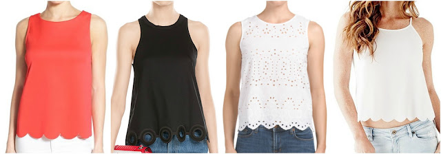 One of these scalloped hem tops is from Carven for $260 and the other three are under $40. Can you guess which one is the designer top? Click the links below to see if you are correct!