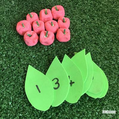 DIY apple manipulatives for ten frame activity