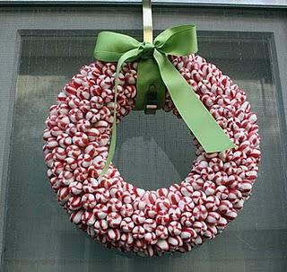 ... hanger formed into a circle or even a foam wreath with ribbon wrapped  around the form to cover it. Also 2 to 3 lbs. of hard candies in twisted  wrappers.