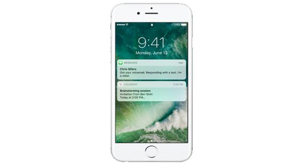 Notification panel of iOS 10