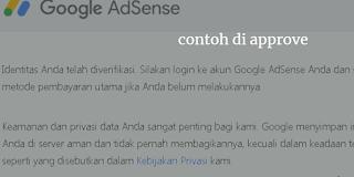 Contoh Vertifikasi Identitas Adsense Di Approve