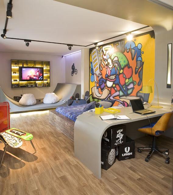 Dormitorio skateboarding para jovencitos amantes del skate for Disenador virtual de habitaciones