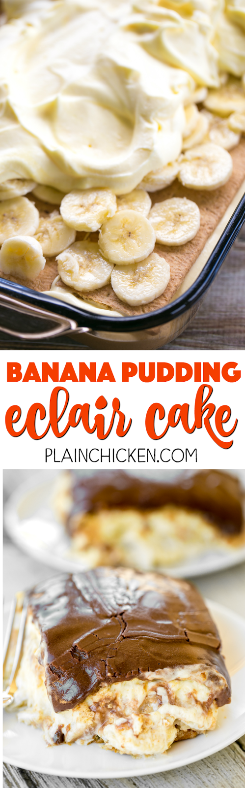 Banana Pudding Eclair Cake - I am in LOVE with this easy no-bake dessert. Great for potlucks, cookouts and Easter! Graham crackers, vanilla pudding, banana pudding, cool whip, bananas, chocolate frosting. Can make ahead and refrigerate before serving. Everyone RAVES about this yummy dessert recipe!!