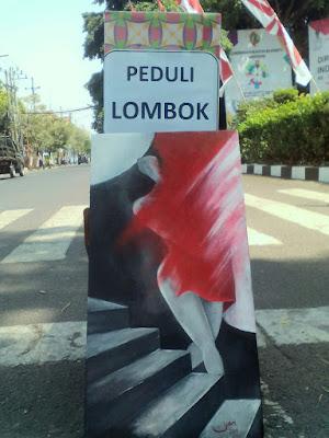 Peduli Lombok, IPI Lelang Lukisan di Trotoar Jalan