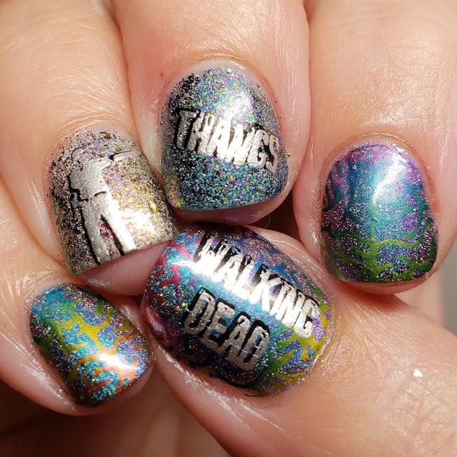 stuff, nail art, walking dead, thangs, holo, rainbow