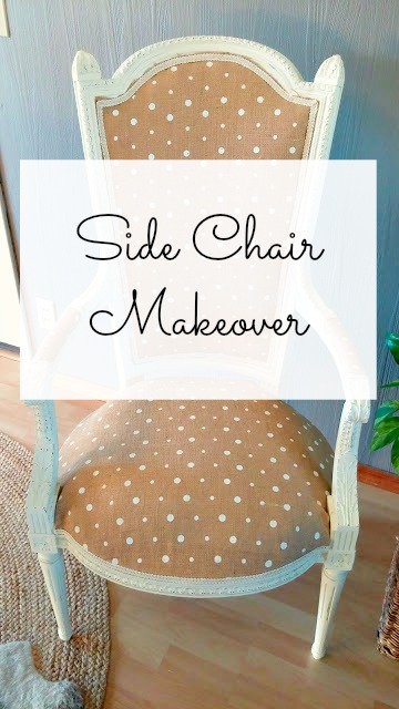 Side chair makeover with polka dot burlap