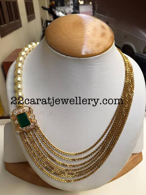 Chandra Haram With Pearls Jewellery Designs