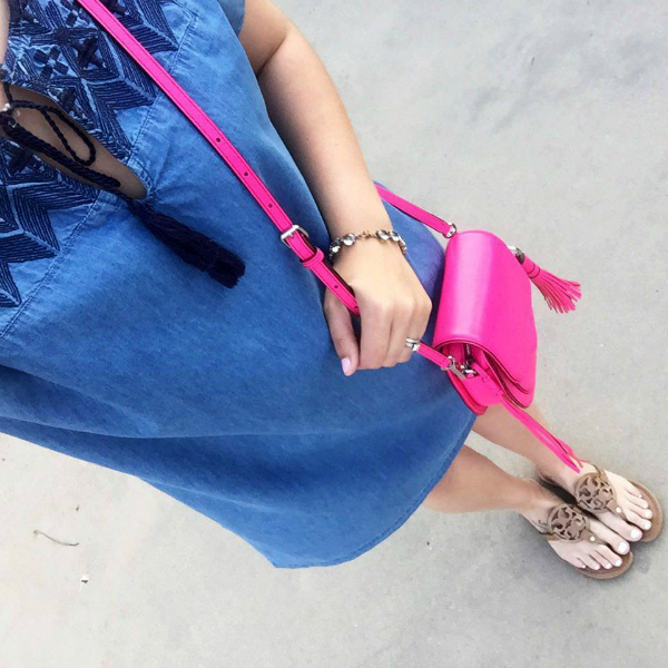 chambray dress, pink crossbody