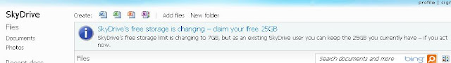 get 25 GB online file hosting Storage for free with SkyDrive