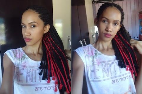 Mudei o visual: Box braids com linha de crochê.