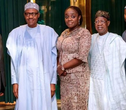 Kemi Adeosun Spotted With Buhari Amid NYSC 'Forgery' Saga