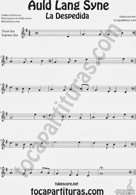 Partitura de La Despedida para Saxofón Soprano y Saxo Tenor Popular Italia Auld Lang Syn Sheet Music for Soprano Sax and Tenor Saxophone Music Scores