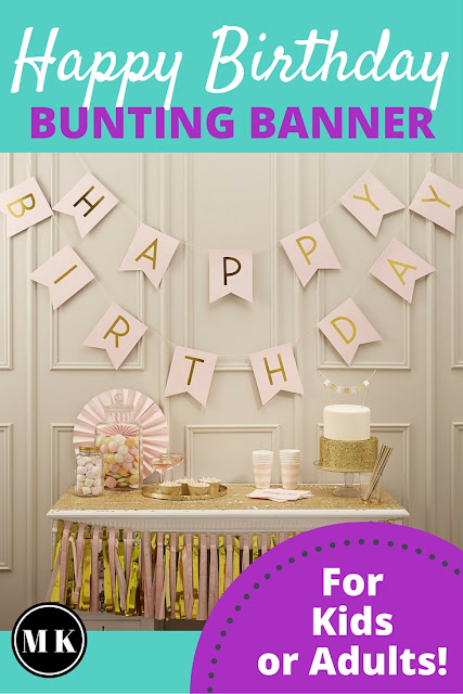 Pink & Gold Happy Birthday Bunting Banner - I really like pink and gold party theme colors, and this banner is so pretty! It would look great in photos, which is important to me when looking for decoration ideas. What I love about this is I can use it for kids or adults. It would be perfect for a 1st birthday for a baby girl, or for my Mom whose 60th birthday is in December, or both!