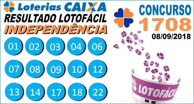 Resultado da Lotofácil da Independência concurso 1708 de 08/09/2018 (Imagem: Informe Notícias)