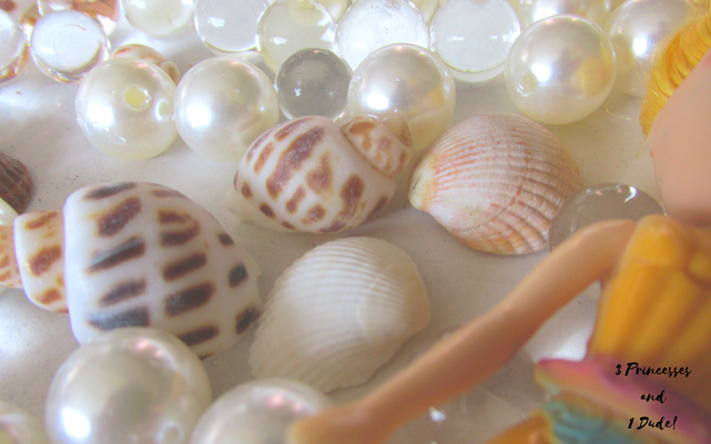 Mermaid Sensory Bin Using Water Beads, Pearls and Shells
