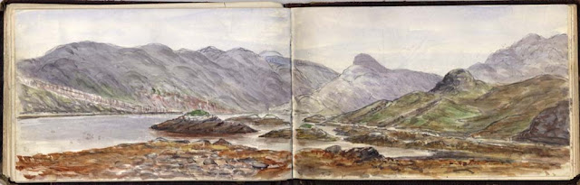Loch Glencoul, North-west Highlands, a watercolour sketch by Ben Peach