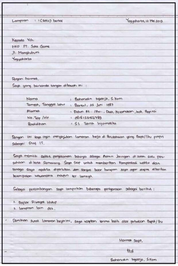 contoh surat lamaran kerja di rumah makan tulis tangan