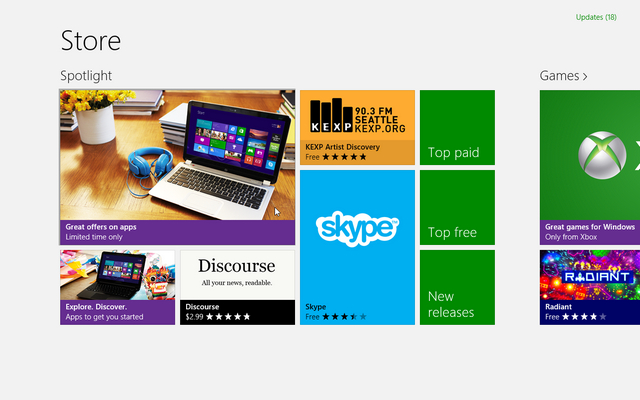 menu baru windows store