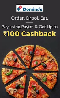 Paytm Coupons: Up to Rs.100 Cashback when you pay using Paytm at Dominos