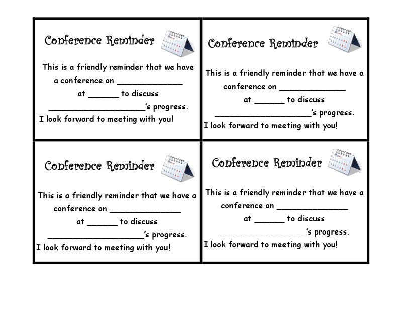 a 2 sided conference form and a letter to send home everything