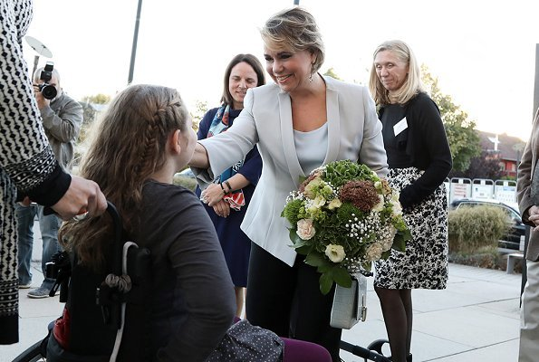 Grand Duchess Maria Teresa wore Armani white blazer, and carried Dior lavender bag, Dior Diamond Aquamarine drop earrings