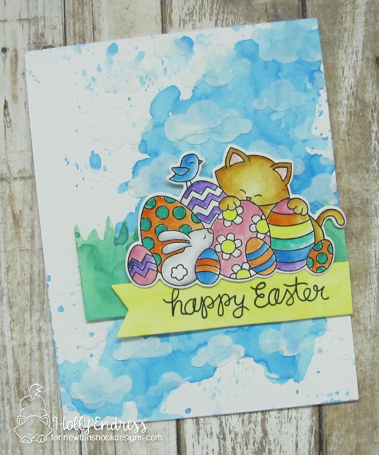Easter Cat Card by Holly Endress | Newton's Easter Basket Stamp Set and Cloudy Sky Stencil by Newton's Nook Designs #newtonsnook #handmade