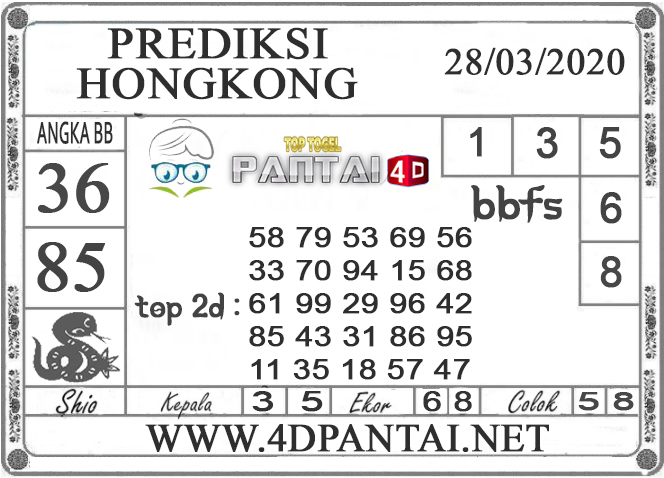 PREDIKSI TOGEL HONGKONG PANTAI4D 28 MARET 2020