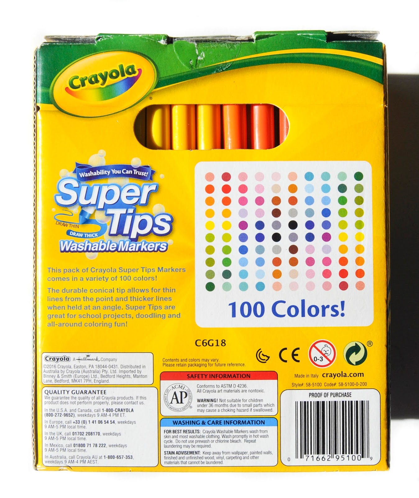 100 count crayola supertips washable markers  what u0026 39 s inside the box