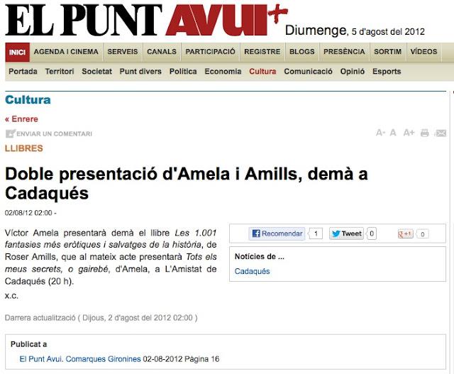 Llibres   Doble presentació d'Amela i Amills, demà a Cadaqués