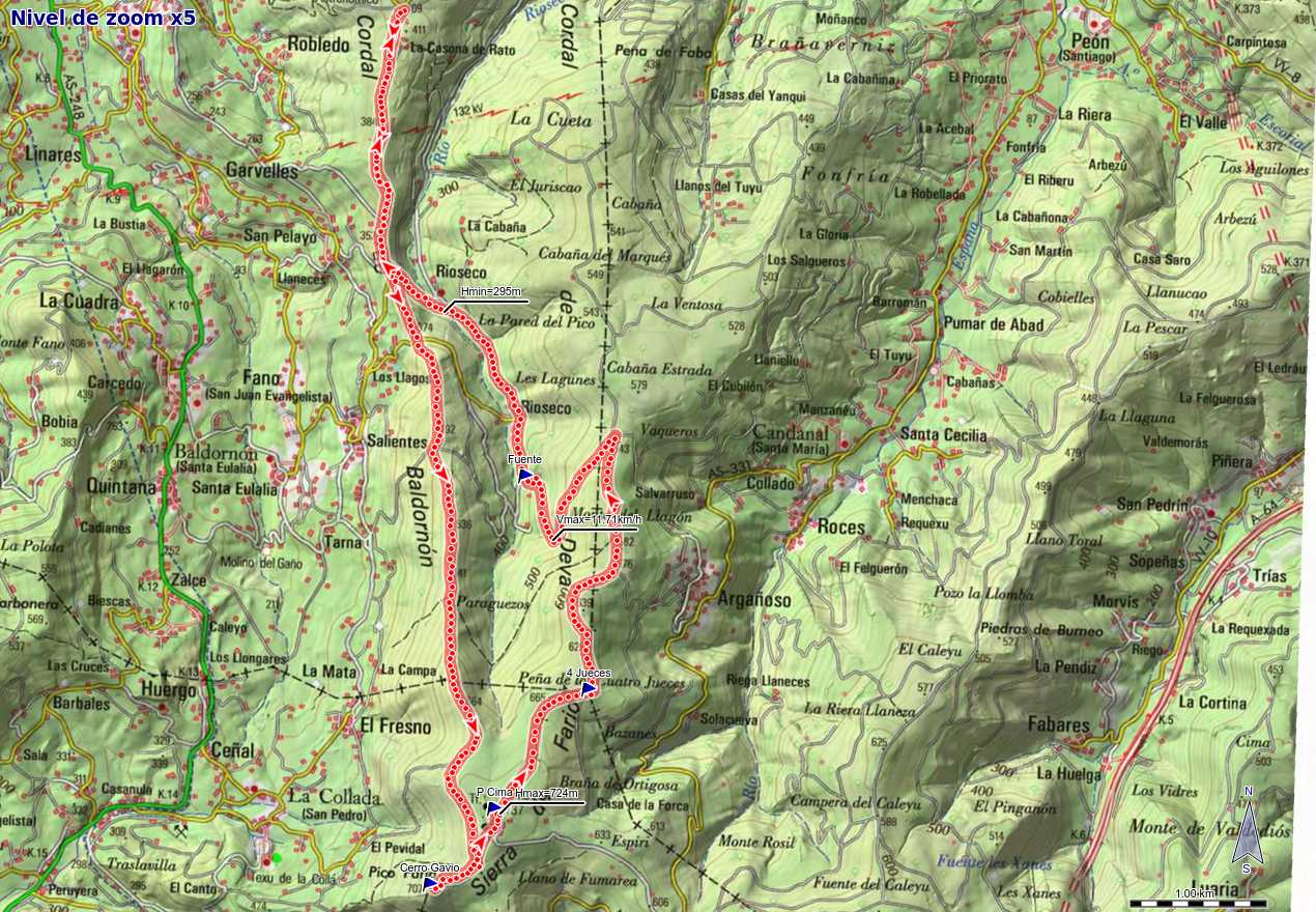 Mapa de la ruta Deva, Gavio Cimero, Fario y Peña de los Cuatro Jueces