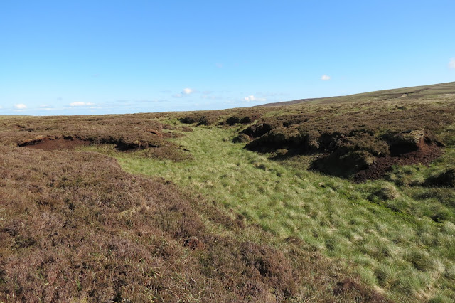 A moorland landscape of peat hags and groughs covered in grasses.