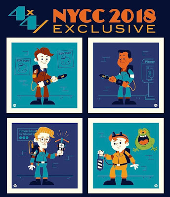 New York Comic Con 2018 Exclusive The Real Ghostbusters 4x4 Screen Print Set by Dave Perillo