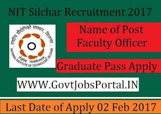 NIT Silchar Recruitment 2017 –Faculty Officer