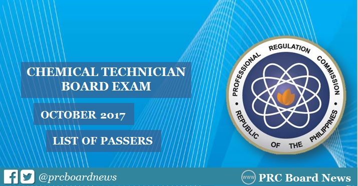 RESULTS: October 2017 Chemical Technician board exam passers list