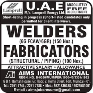 Lamprell UAE jobs - Interview in Mumbai