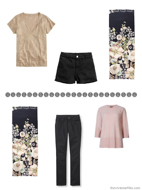 Shorts and a tee shirt; jeans and a sweater, to wear with Garden Gems scarf from Ted Baker London