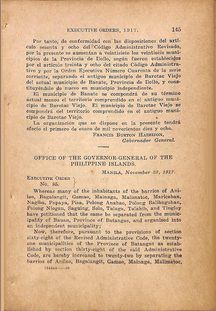 Executive Order No. 85 series of 1917 creating the Municipality of Mabini, Englsh version.