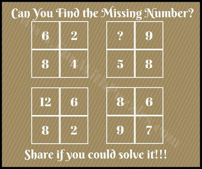 Simple Maths Picture Puzzle in which one has to find the missing number