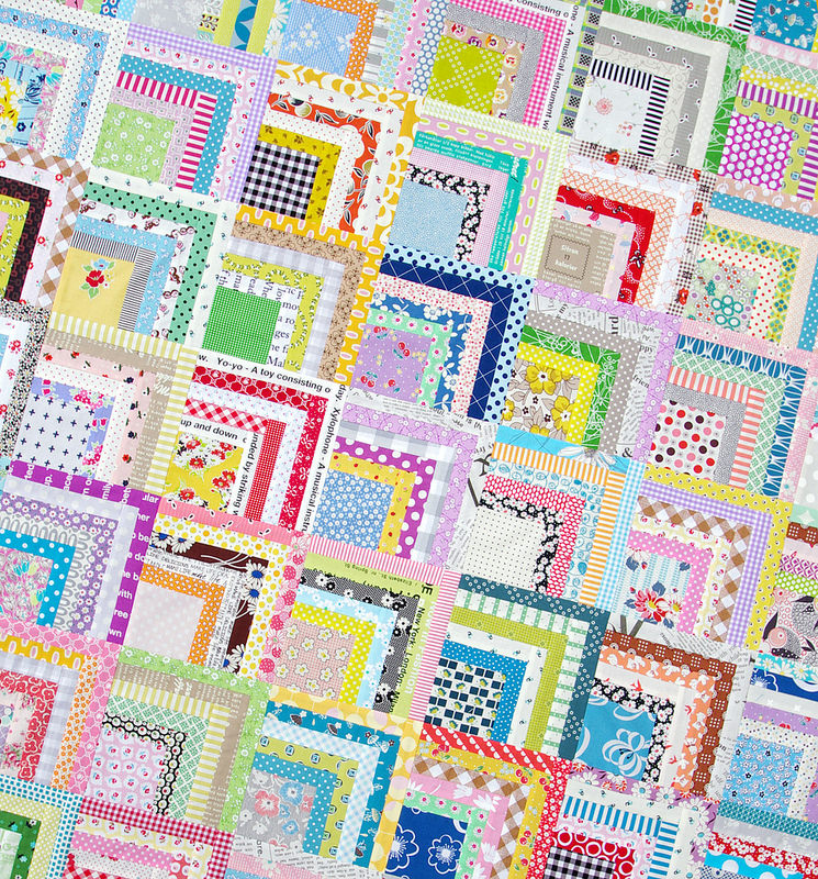 Scrappy Quarter Log Cabin Quilt | Red Pepper Quilts 2015