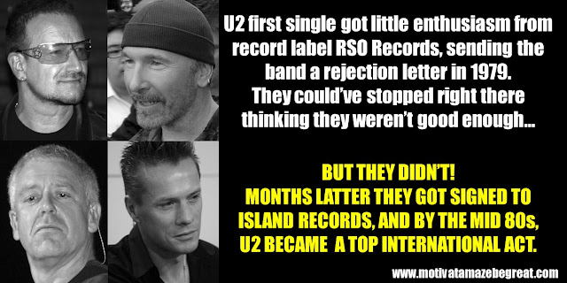 Successful People Who Failed: U2, Success story, Rejection letter, Top International Act, Island Records, RSO Records